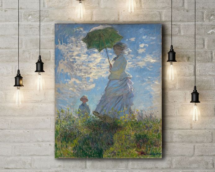 Claude Monet: Woman with a Parasol - Madame Monet and Her Son. Fine Art Canvas.